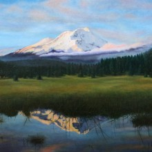 lezlie graebel, mount shasta after the storm, oil painting