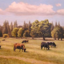 lou wandro, cow park, oil on wood panel
