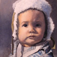 lou wandro, grandson, oil on wood panel