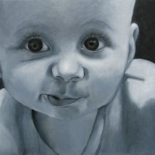 christine campos, baby face, oil painting