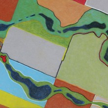 michael wecksler, aerial view #7, pastel pencils on paper