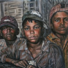 judy hester, the boys, oil painting