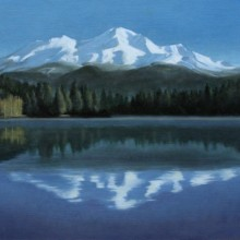 karen copsey, mount shasta reflection, oil painting