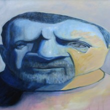 michael wecksler, face, oil on canvas