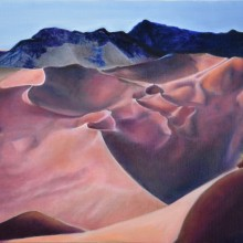 ariel morgan, fool on a hill, oil on canvas