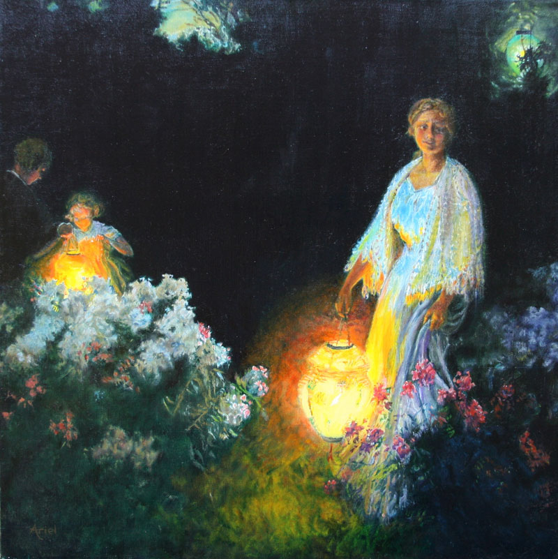 ariel morgan, lanterns, oil on canvas