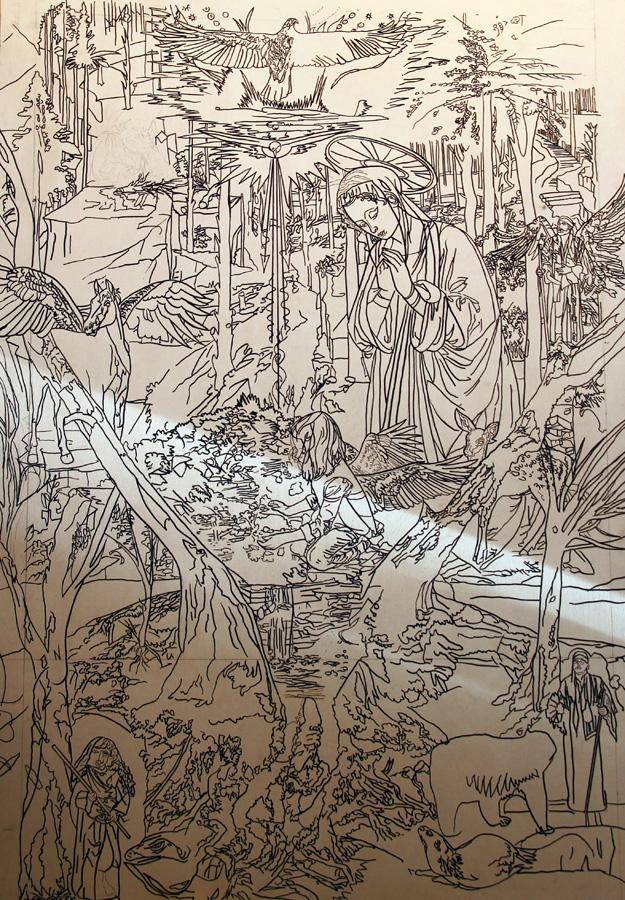 Janet Crittenden Painting inspired by Fra Filippo Lippi in Progress