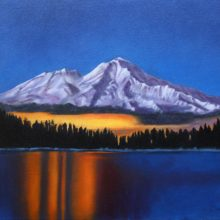 Lynda Hardy, Shasta Sunrise at Lake Siskiyou, oil painting