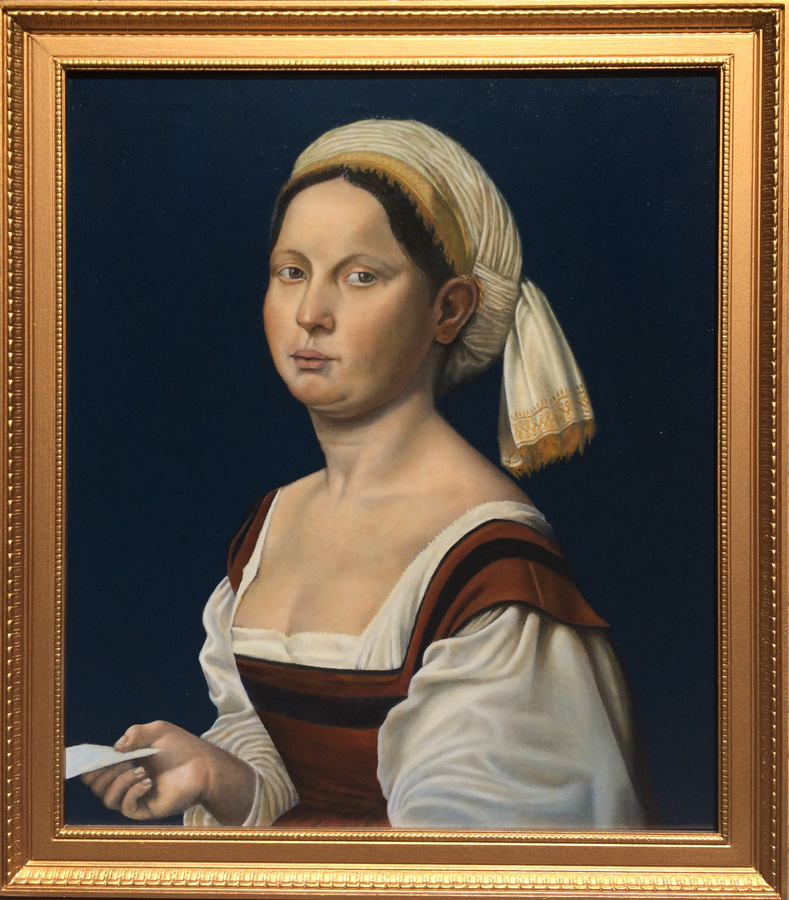 Lou Wandro's Forgery  - Portrait of a Young Woman by Giuliano Bugiardini