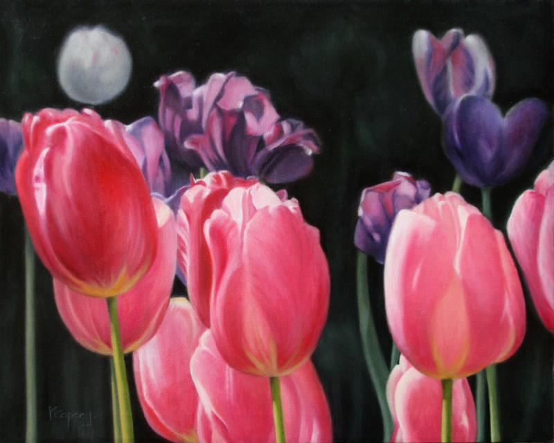 karen copsey, tulips, oil painting
