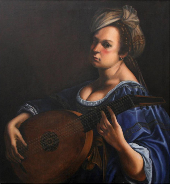 Karen Copsey's forgery - Self Portrait as a Lute Player by Artemisia Gentileschi