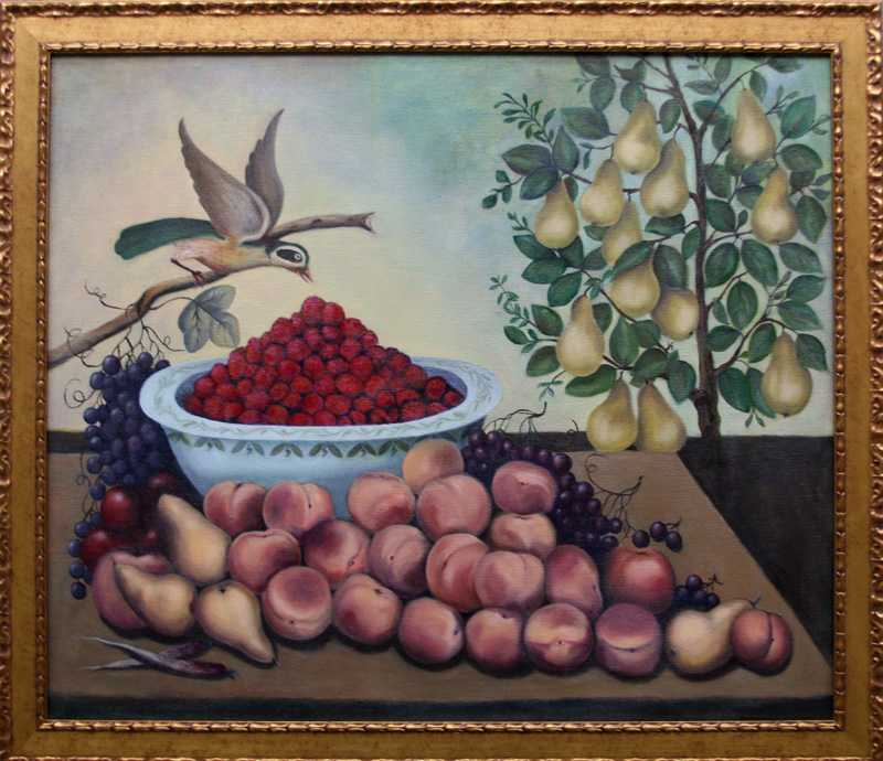Cindy Corrales  forgery after Charles V. Bond's Still Life: Fruit, Bird and Dwarf Pear Tree, 1856
